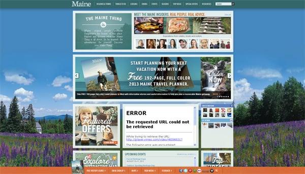 Travel website designs - Maine