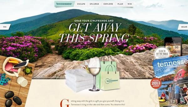 Travel website designs - Spring Tennessee