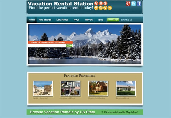 Travel website designs - Vacation Rental Station