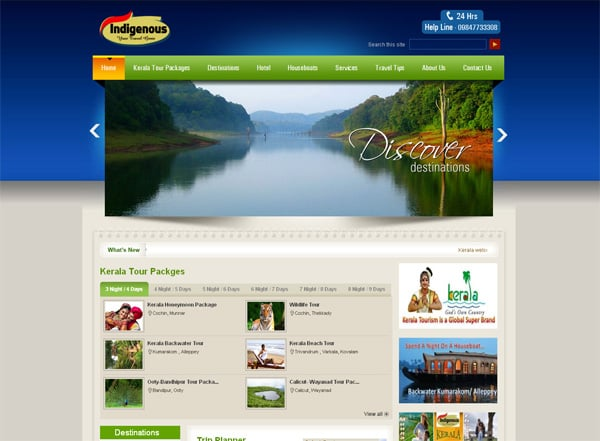 Travel website designs - Indigenous