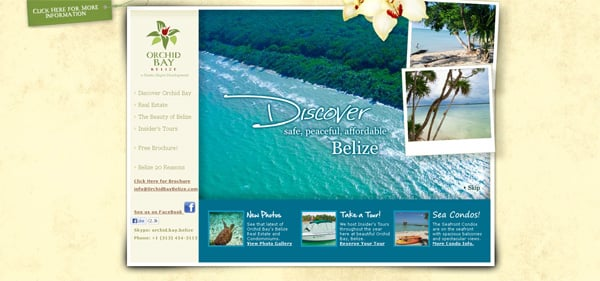 Travel website designs - Orchid Bay Belize