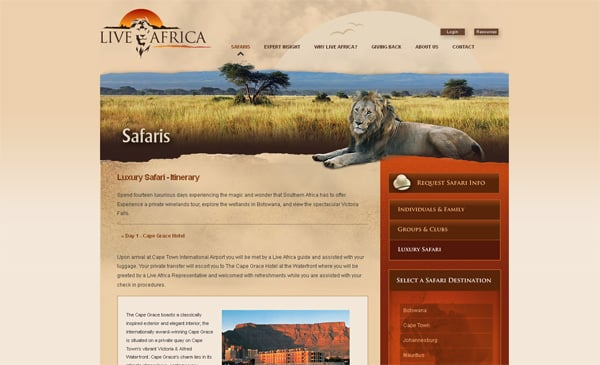 Travel website designs - Live Africa