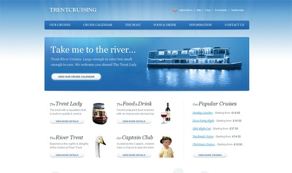 Travel website designs - Trentcruising