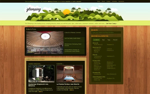 Travel website designs - Go Glamping