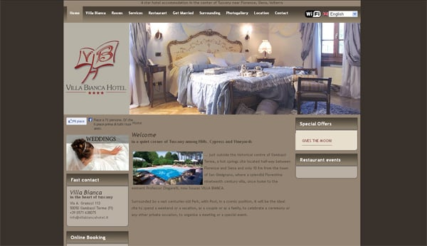 Travel website designs - Villa Bianca Hotel