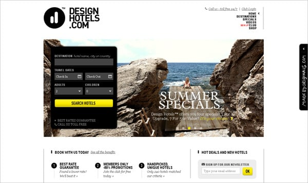 Travel website designs - Design Hotels