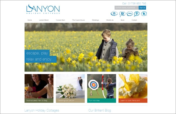 Travel website designs - LANYON Holiday Cottages