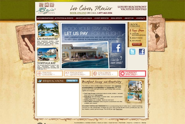Travel website designs - Baja Vacations