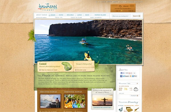 Travel website designs - The Hawaiian Islands