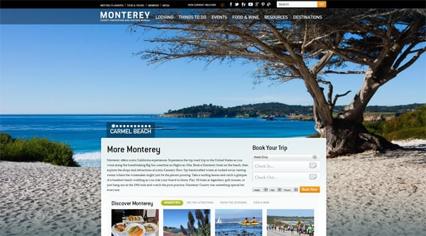 Travel website designs - Monterey