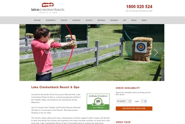 Travel website designs - Lake Crackenback