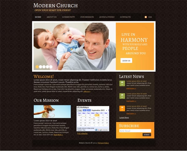 How to build a church website from a template church website template with textured background maxwellsz