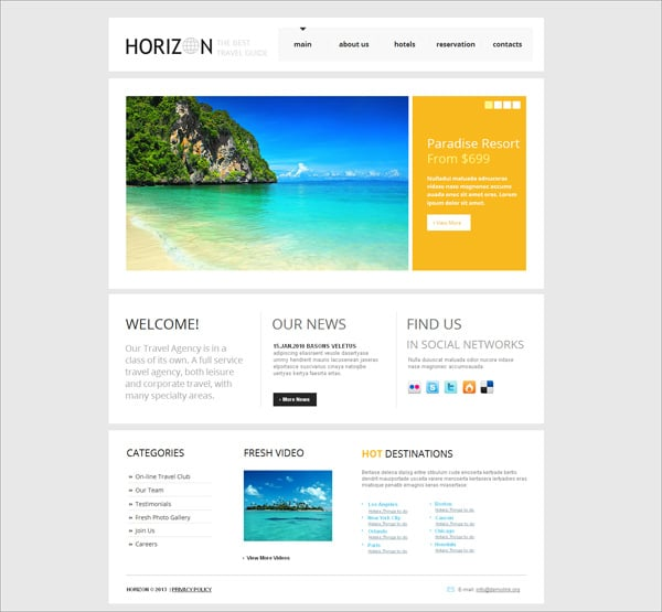 Clean Style Website Design for Travel Agencies