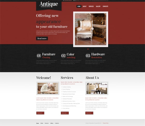Antique Website Template for Restoration Company