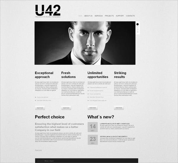 Newspaper Style Business Website Template in Black and White