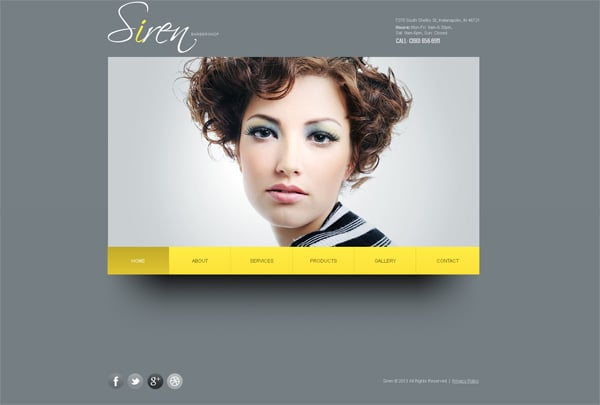Hairstyle Designer Website Template with jQuery Image Slider