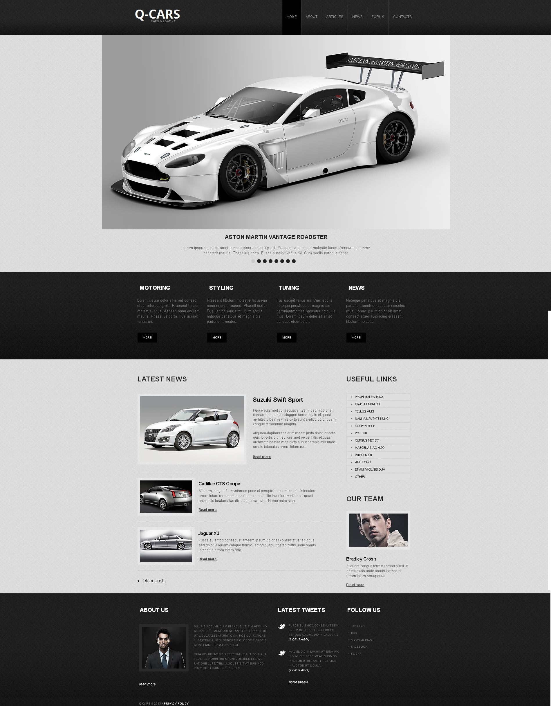 Clean Website Design in Black and White