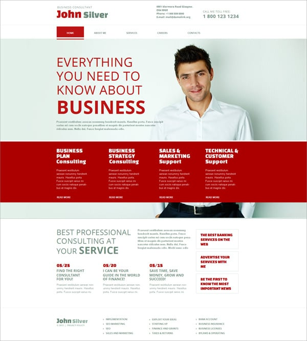 Clean Website Design in Red and White