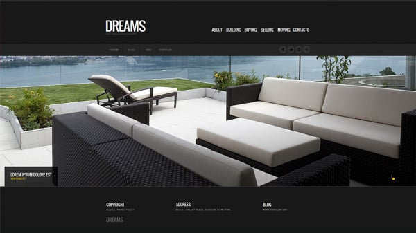 Clean Website Template with Image Gallery and Black Background
