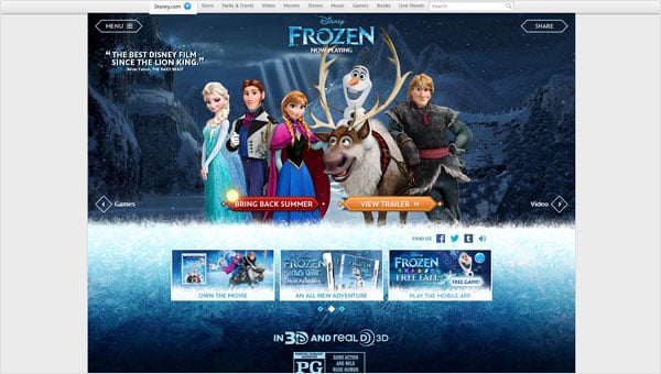 Animated Movie Websites: Frozen