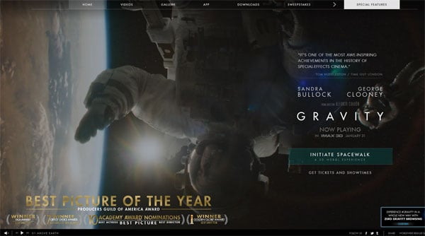 Movie Websites: Space Drama Gravity