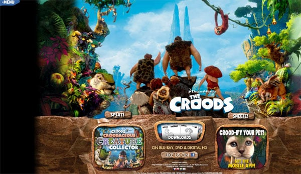Animated Movie Websites: The Croods