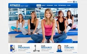 Fitness Studio Template in Light Grey and Blue Colors