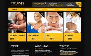 Contrast Black-and-Yellow template for Fitness Studio