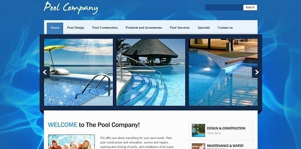 Blue-Colored Template for Pool Company