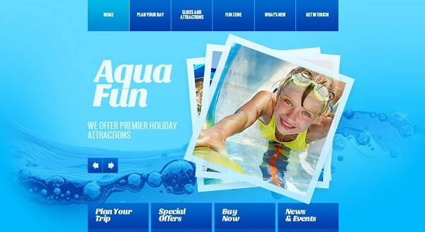 Bright Website Template for Water Park