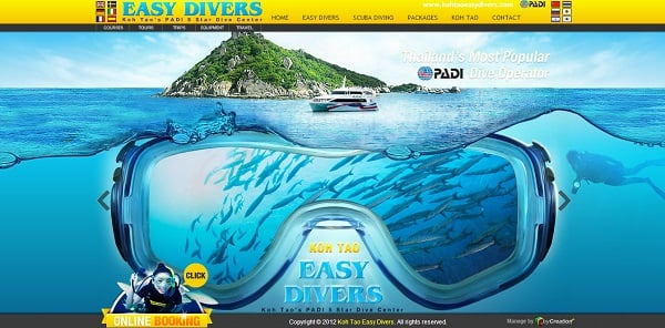Water Website Design - Koh Tao diving water site