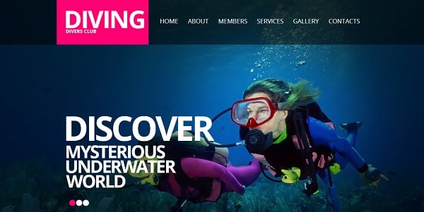 Template for Diving Website with Background Slideshow