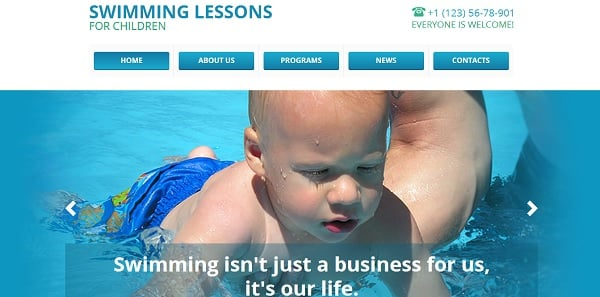 Shiny Website Template for Swimming Classes