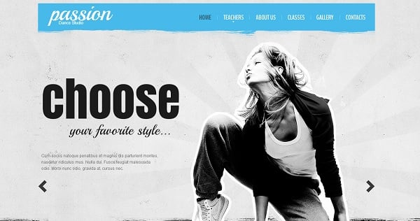 Dance Studio Template in Grunge Style