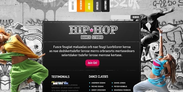 Flash Grunge Template for Dance Studio