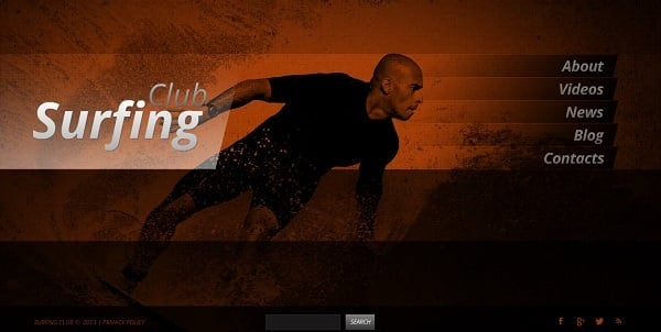 Surfing Website Grunge Template