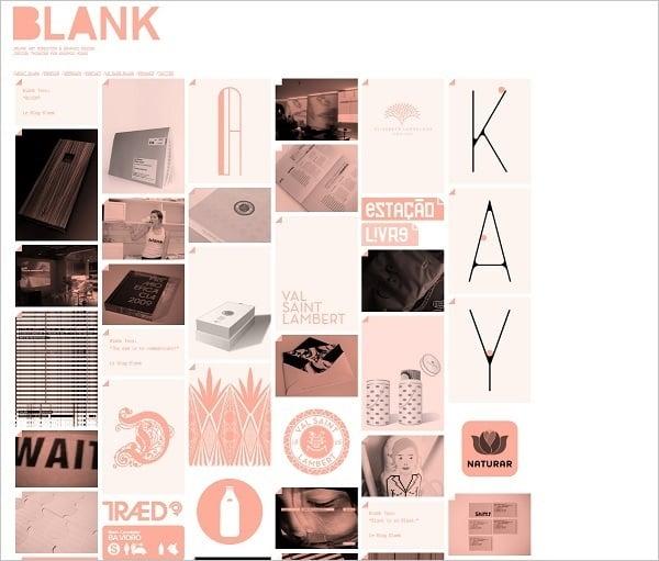 Blank monochrome website design