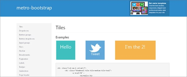 Create Website in Metro Style: Frameworks, Plugins, Templates