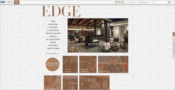 Edge Magazine monochrome website design