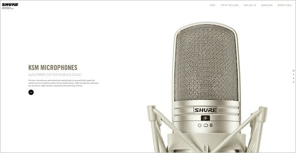Shure Asia monochromatic website design