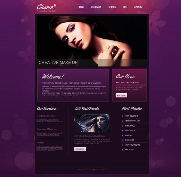 Hair Salon Monochromatic Website Template