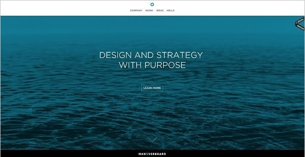 Man over Board monochromatic website design