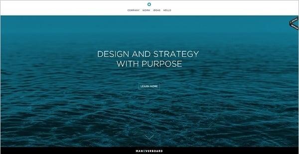 Man over Board monochromatic website design
