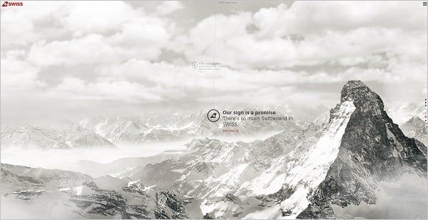 World-of-Swiss monochromatic web design