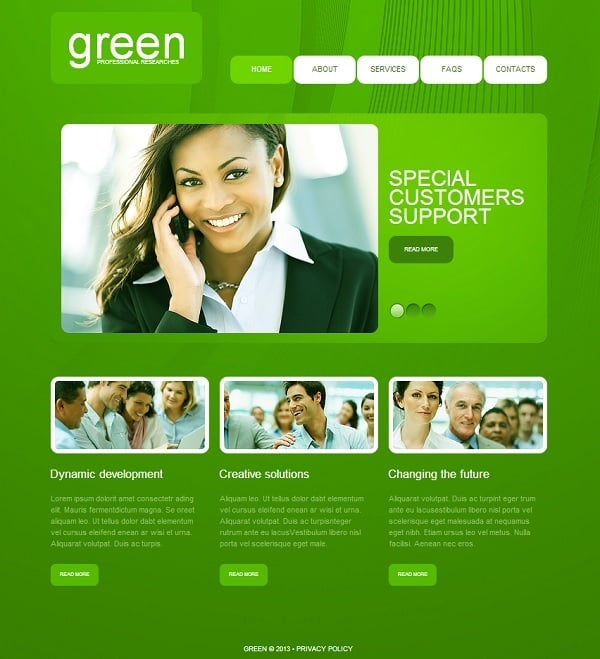Monochromatic Website Template in Green
