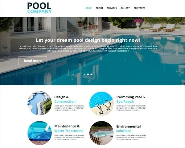 Pool Company Website Template with ghost buttons