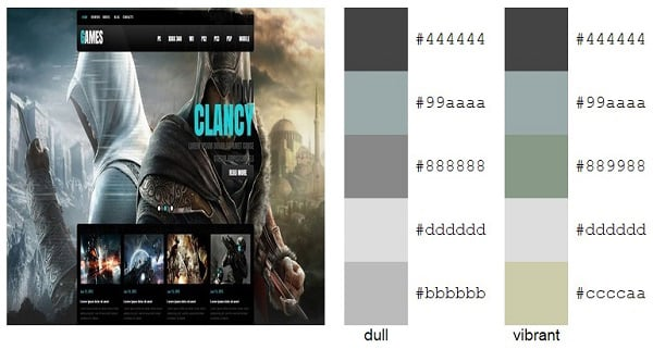 Gaming Website Templates Color Palette Metal