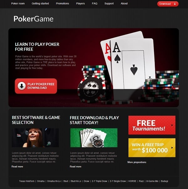 Poker Online Gaming Website Template