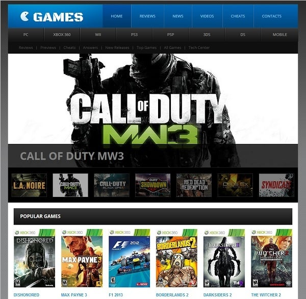 Gaming Website Template Menu