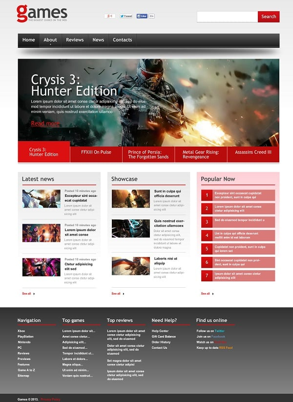Flash Gaming Website Template